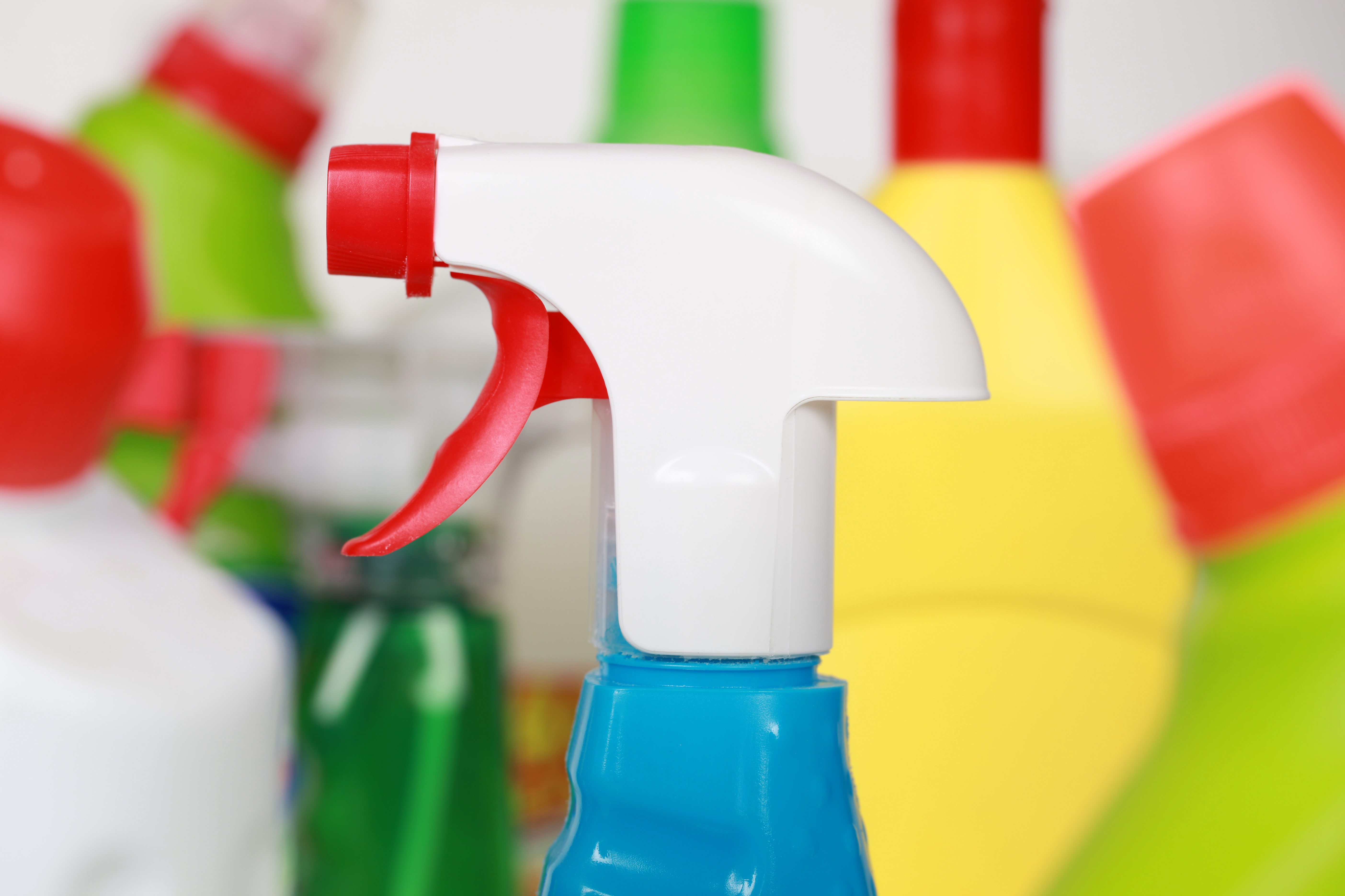 Cleaning products in plastic bottles